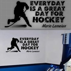 Hockey Wall Quote,Hockey Wall decal Silhouettes, Hockey players room ...