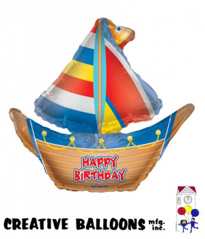 17826 14 Happy Birthday Boat Shaped Foil Balloons Creative Balloons