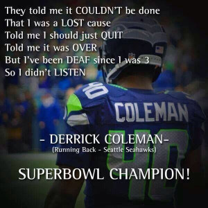 Derrick Coleman- One of my fave Seahawks football player Sooo ...