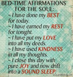 Bedtime Affirmations that Promise Sound Sleep. #quote bedtime quotes ...