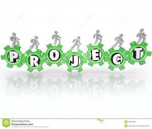 project-word-gears-people-working-together-accomplish-task-team-work ...