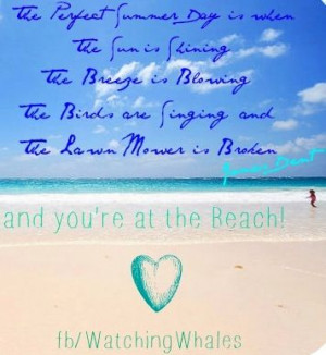 Perfect summer day at beach quote via www.Facebook.com/WatchingWhales
