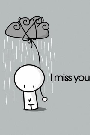 Cute Rainy I Miss You iPhone HD Wallpaper