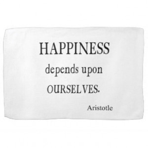 Vintage Aristotle Happiness Inspirational Quote Kitchen Towel