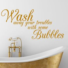 BATHROOM QUOTE, Wash, Bath, Interior, Wall Sticker, Decal, Wallart ...