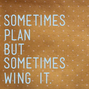 ... sometimes wing it Cheesy Inspirational Quotes