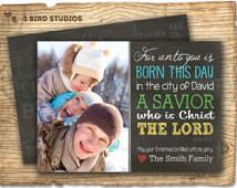 Luke 2 :11 - bible scripture Christmas photo card - Holiday card bible ...