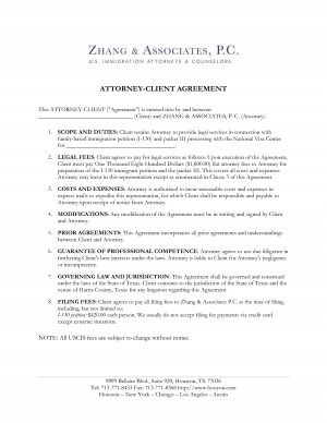 Attorney Client Agreement Immigration picture