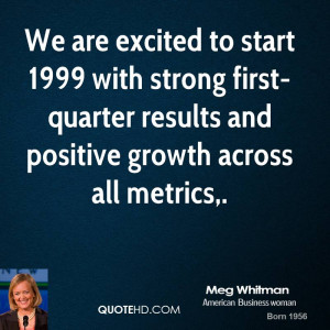 We are excited to start 1999 with strong first-quarter results and ...