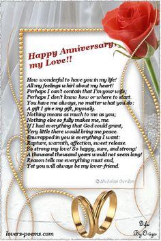 Anniversary Poems For Husband | Happy Anniversary, my Love! | oriza ...