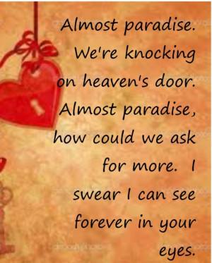 Almost Paradise - song lyrics, music lyrics, song ... | Vinyl Quotes