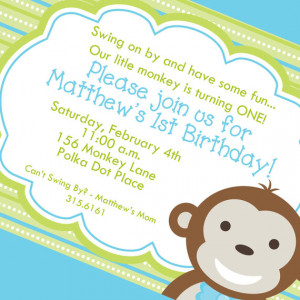 Little Monkey Boy First Birthday Invitation, Printable Invitation ...