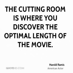The cutting room is where you discover the optimal length of the movie ...
