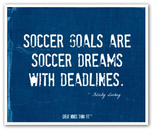 Soccer goals are soccer dreams withdeadlines.
