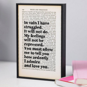 Pride and Prejudice quotes printed on book page