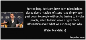 For too long, decisions have been taken behind closed doors - tablets ...