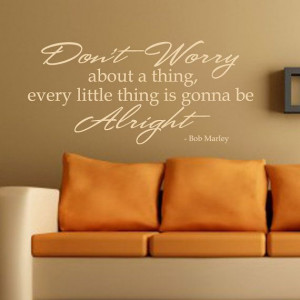 Bob Marley Wall Decal Vinyl Don't Worry Wall Quote Living Room Bedroom ...