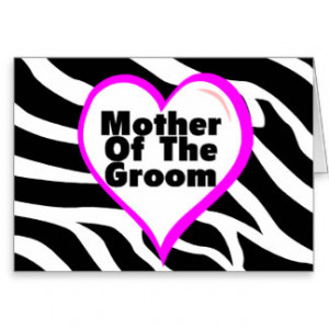 Mother Of The Groom (Heart Zebra Stripes) Card