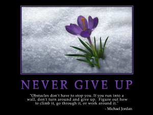... but never give up gather your strength and continue with your journey