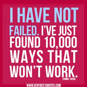 THOMAS EDISON quotes about failure