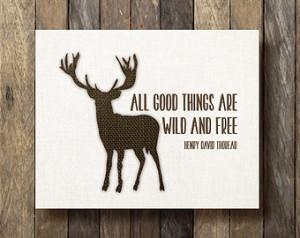 Henry David Thoreau Quote - Printab le 8x10 - Burlap Print - Stag ...