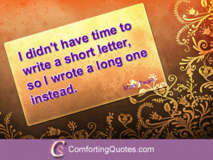 Quote on Writing a Short Letter by Mark Twain