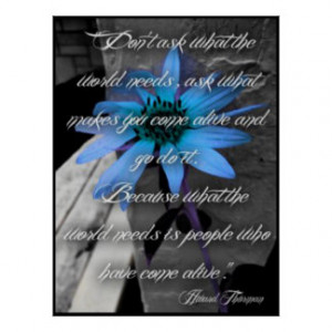 Poster, Lg Blue Sunflower Thurman Quote