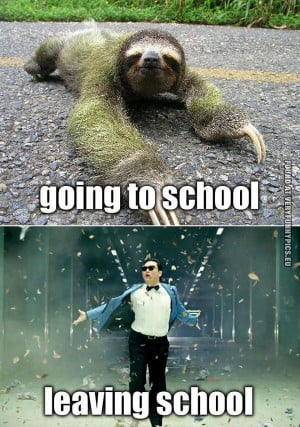 Funny Picture - Going to school VS Leaving school