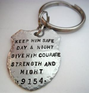 Police Prayer Badge Keychain Officer Law Enforcement Cop Sheriff ...