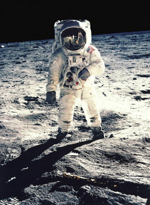 Mr. Aldrin faced the camera as he walked on the moon. (Reuters)