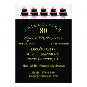 Colourful Cake 80th Birthday Party Invitation