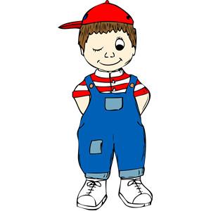 free vector clipart winking boy