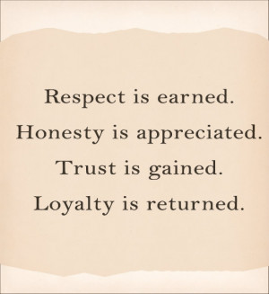 Respect is earned.honesty is appreciated. trust is gained