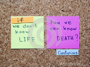 Famous Confucius's quote interpretation with sticker notes on cork ...