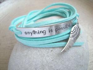 Quote Wrap Bracelet, Your Quote Bracelet, Angel wing charm, Positive ...