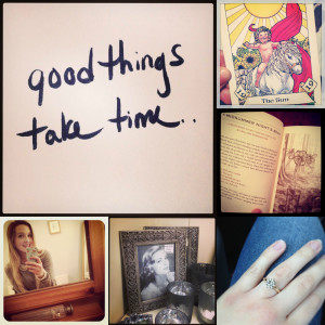 ... obligatory life affirming quote, engagement ring snap and selfie