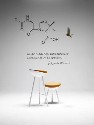 Science art biology Fleming quote and penicillin molecule vinyl wall ...