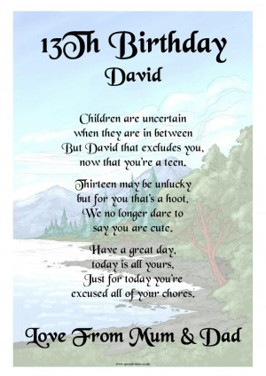 Poem 13th Birthday http://www.ebay.co.uk/itm/PERSONALISED-13TH ...