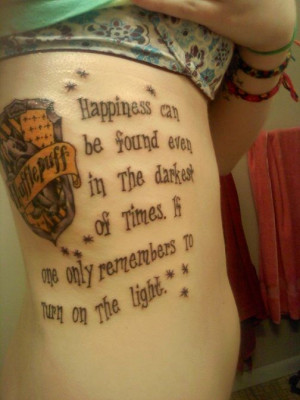 Hufflepuff crest & Dumbledore quote. :-) Yay, I'm not the only person ...