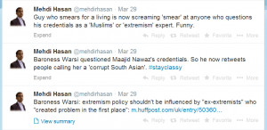 Mehdi Hasan tells other people to stay classy