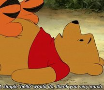 ... cute, friends, hello, old, poo bear, pooh, quote, red, show, tigger