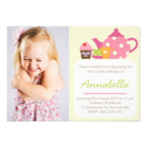 cute_tea_party_kids_photo_birthday_invitation ...