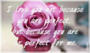 love you not because you are perfect, but because you are so perfect ...