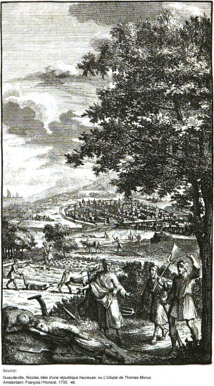 Utopians farming; from a 1730 French translation of 'Utopia'