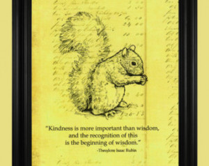 ... Illustration, Woodland Animal Art Print with Kindness Quote - 8 x 10
