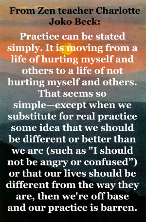 From Zen teacher Charlotte Joko Beck...