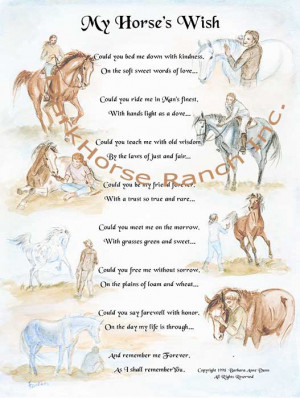 My Horse's Wish (Delano) - Equine Poetry Print by Barbara Anne Dunn.