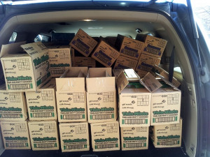 Very full back of car with Girl Scout cookies