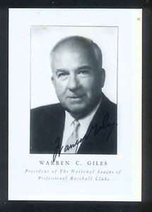 Warren Giles Autographed Photo Baseball HOF d 79