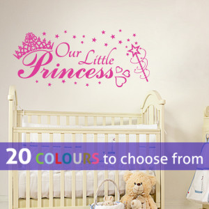 OUR LITTLE PRINCESS quote wall sticker decal kids baby girl nursery ...